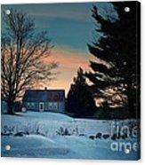 Countryside Winter Evening Acrylic Print by Joy Nichols