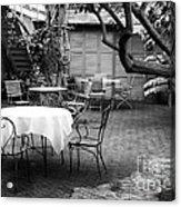 Courtyard Seating Acrylic Print by John Rizzuto