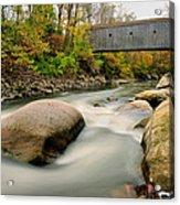 Covered Bridge At Bull Run - Kent Connecticut Acrylic Print by Thomas Schoeller