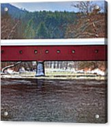 Covered Bridge Of West Cornwall-winter Panorama Acrylic Print by Thomas Schoeller