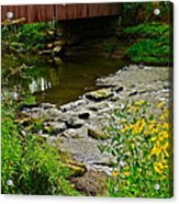 Covered Bridge Acrylic Print by Frozen in Time Fine Art Photography