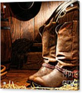 Cowboy Boots In A Ranch Barn Acrylic Print by Olivier Le Queinec
