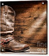 Cowboy Boots On Wood Floor Acrylic Print by Olivier Le Queinec