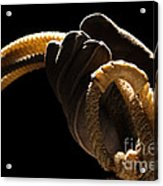 Cowboy Hand Holding Lasso Acrylic Print by Olivier Le Queinec