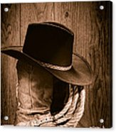 Cowboy Hat And Boots Acrylic Print by Olivier Le Queinec