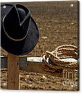 Cowboy Hat And Rope On Fence Acrylic Print by Olivier Le Queinec