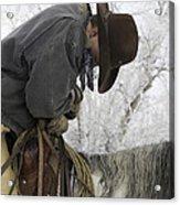 Cowboy Sleeps In The Saddle Acrylic Print by Carol Walker