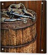 Cowboy Spurs On Wooden Barrel Acrylic Print by Paul Ward