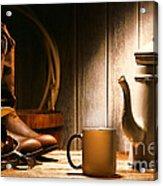 Cowboy's Coffee Break Acrylic Print by Olivier Le Queinec