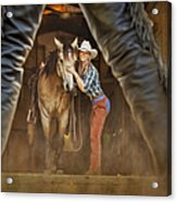 Cowgirl And Cowboy Acrylic Print by Susan Candelario