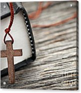 Cross And Bible Acrylic Print by Elena Elisseeva