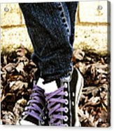 Crossed Feet Of Teen Girl Acrylic Print by Birgit Tyrrell