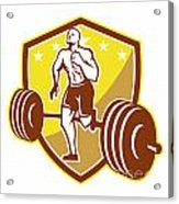 Crossfit Athlete Runner Barbell Shield Retro Acrylic Print by Aloysius Patrimonio