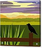 Crow In The Corn Field Acrylic Print by Val Arie