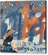 Crow Snow Acrylic Print by Carol Leigh