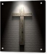 Crucifix On A Wall Under Spotlight Acrylic Print by Allan Swart