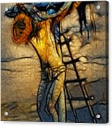 Crucifixion - Stained Glass Acrylic Print by Ray Downing