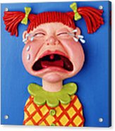 Crying Girl Acrylic Print by Amy Vangsgard