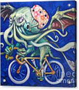 Cthulhu On A Bicycle Acrylic Print by Ellen Marcus