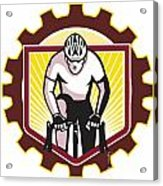 Cyclist Riding Bicycle Cycling Front Sprocket Retro Acrylic Print by Aloysius Patrimonio
