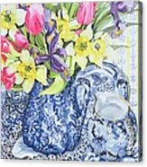 Daffodils Tulips And Irises With Blue Antique Pots  Acrylic Print by Joan Thewsey