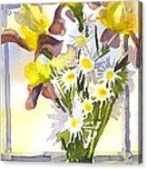Daisies With Yellow Irises Acrylic Print by Kip DeVore