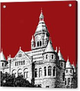 Dallas Skyline Old Red Courthouse - Dark Red Acrylic Print by DB Artist