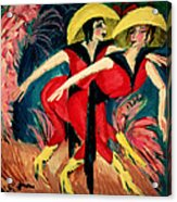 Dancers In Red Acrylic Print by Ernst Ludwig Kirchner