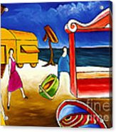 Day At The Beach Acrylic Print by William Cain