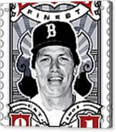 Dcla Carlton Fisk Fenway's Finest Stamp Art Acrylic Print by David Cook Los Angeles