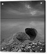 Dead Sea Sunrise Black And White Acrylic Print by David Morefield