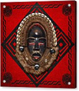 Dean Gle Mask By Dan People Of The Ivory Coast And Liberia On Red Leather Acrylic Print by Serge Averbukh