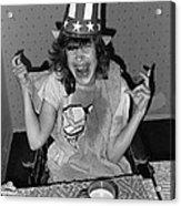 Debbie C. Celebrating July 4th Lincoln Gardens Tucson Arizona 1990 Acrylic Print by David Lee Guss
