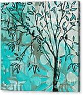 Decorative Abstract Floral Birds Landscape Painting Bird Haven I By Megan Duncanson Acrylic Print by Megan Duncanson