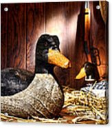 Decoy In Old Hunting Barn Acrylic Print by Olivier Le Queinec