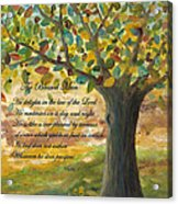 Deep Roots-with Scripture Acrylic Print by Mona Elliott