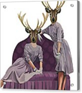 Deer Twins In Purple Acrylic Print by Kelly McLaughlan