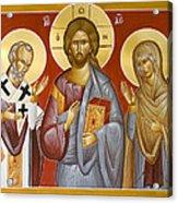 Deisis Jesus Christ St Nicholas And St Paraskevi Acrylic Print by Julia Bridget Hayes