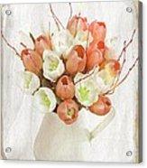 Deluxe Peach Tulips Acrylic Print by Debra  Miller