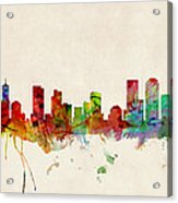 Denver Colorado Skyline Acrylic Print by Michael Tompsett