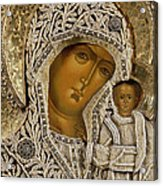 Detail Of An Icon Showing The Virgin Of Kazan By Yegor Petrov Acrylic Print by Russian School