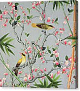 Detail Of The 18th Century Wallpaper In The Drawing Room Photograph Acrylic Print by John Bethell