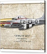 Detroit Miss P-51d Mustang - Map Background Acrylic Print by Craig Tinder