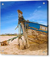 Dilapidated Boat At Ferragudo Beach Algarve Portugal Acrylic Print by Amanda And Christopher Elwell