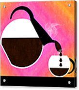 Diner Coffee Pot And Cup Sorbet Pouring Acrylic Print by Andee Design