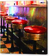 Diner - V2 - Square Acrylic Print by Wingsdomain Art and Photography