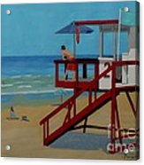 Distracted Lifeguard Acrylic Print by Anthony Dunphy