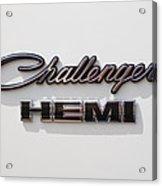 Dodge Challenger Hemi Emblem Acrylic Print by Jill Reger