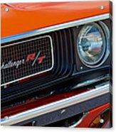 Dodge Challenger Rt Grille Emblem Acrylic Print by Jill Reger