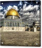 Dome Of The Rock Closeup Hdr Acrylic Print by David Morefield